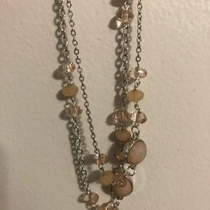 Peach and Silver necklace and earring set